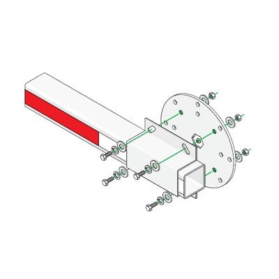 Kit de Instalación Para Brazos de Plástico Doorking / Incluye Disco y Enganche de Fijación