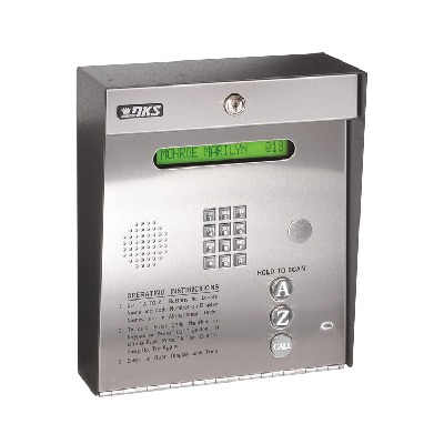 Control de acceso /Gabinete para sobreponer / 2 puertas / 3000 números telefónicos / 11 digitos / Directorio en pantalla / Linea análoga o digital / Expandible a 16 puertas / Programable por PC
