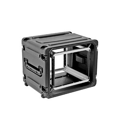Gabinete Plastico Movil con Amortiguador con Rack de 19 6 Unidades.