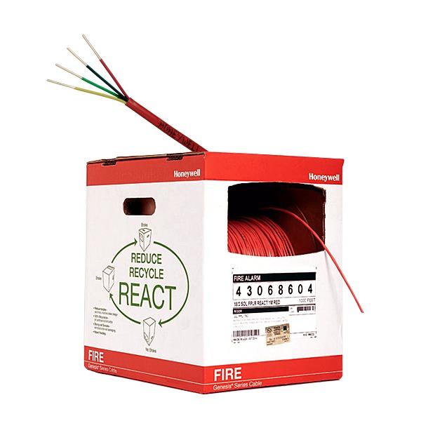 Bobina de 305 metros de alambre  calibre 18 AWG  en 4hilos, caja REACT , resistente al fuego, color rojo, tipo FPLR- CL2R - C(UL) -FT4 para sistemas contra incendio o sistemas de evacuacion.
