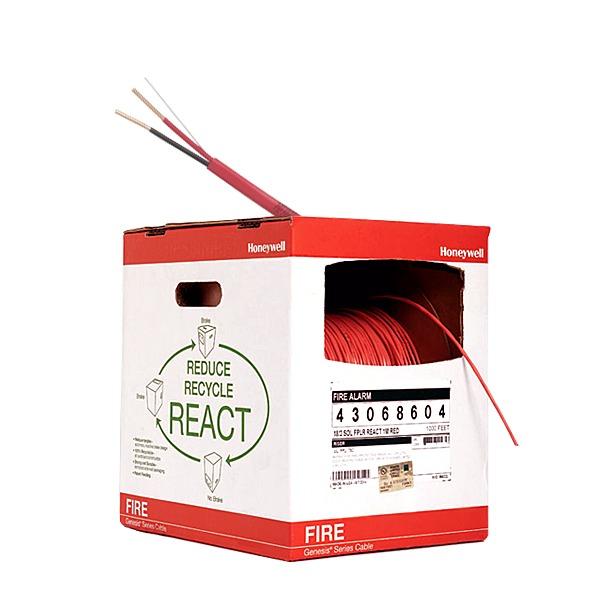 Bobina de 305 metros de alambre  calibre 18 AWG  en 2 HILOS, uso INTEMPERIE caja REACT , resistente al fuego, color rojo, tipo FPLR- CL2R para sistemas contra incendio o sistemas de evacuación.
