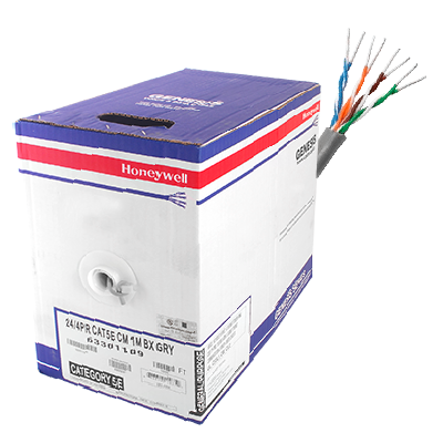Bobina de cable de 305 metros, UTP Cat5e,de color Gris, UL, CM, probado a 350 Mhz, para aplicaciones de CCTV - redes de datos- IP megapixel - control rs485