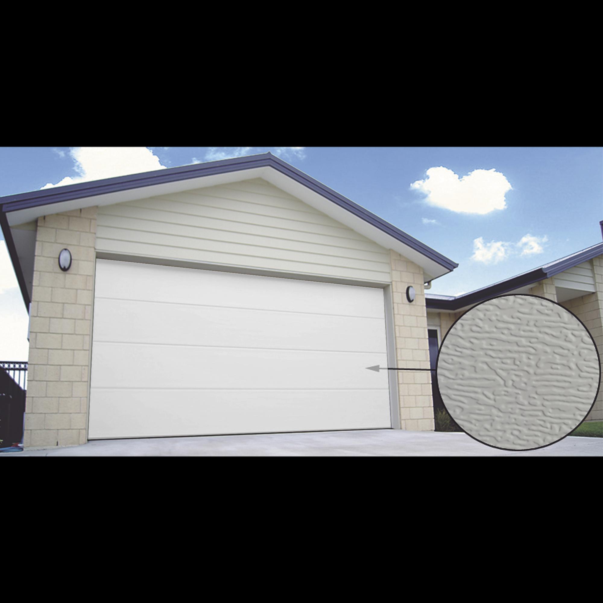 Puerta de Garage PREMIUM, Lisa color blanco  18X7 FT, AISLADA, Estilo U.S.A.