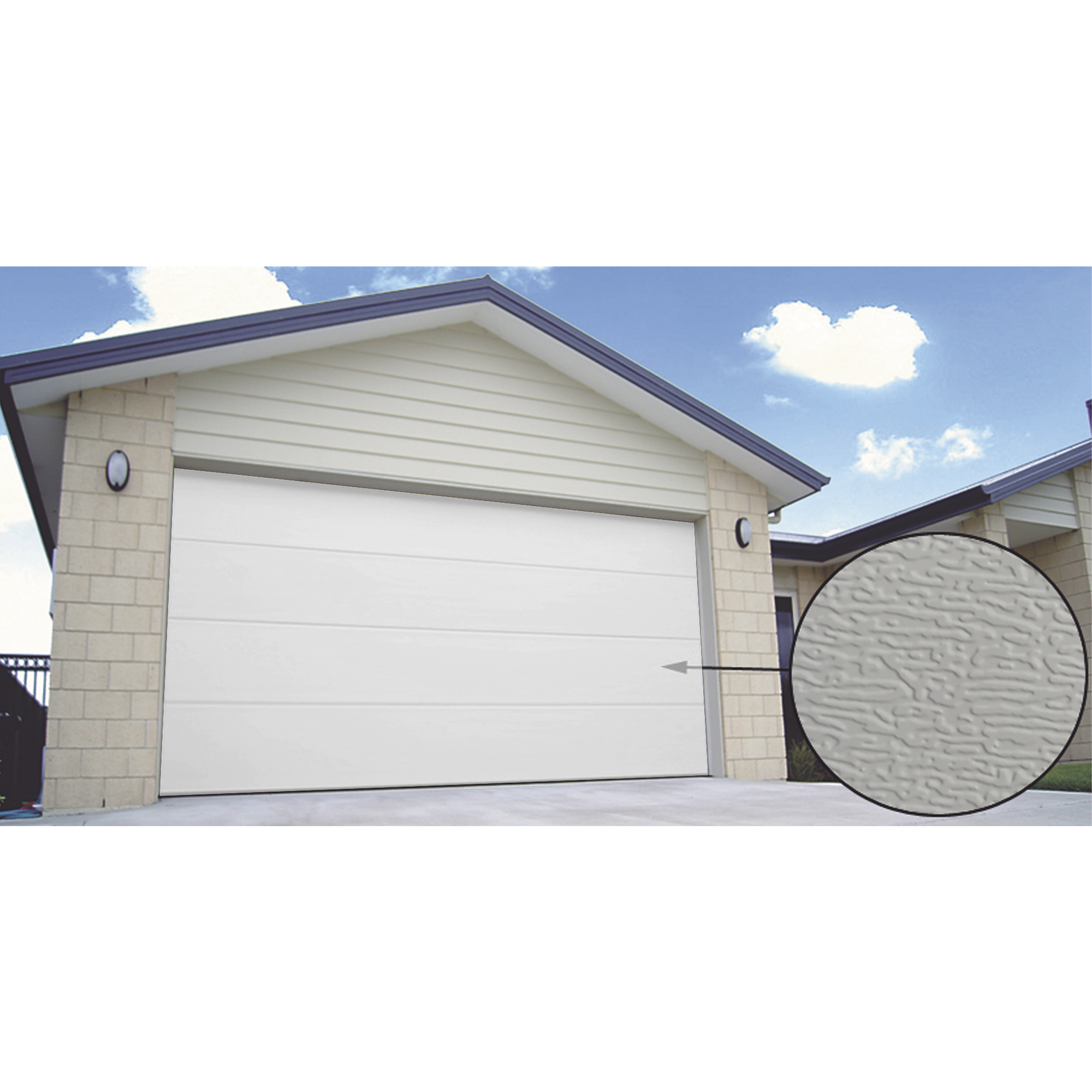 Puerta de Garage PREMIUM, Lisa color blanco  18X8 FT, AISLADA, Estilo U.S.A.