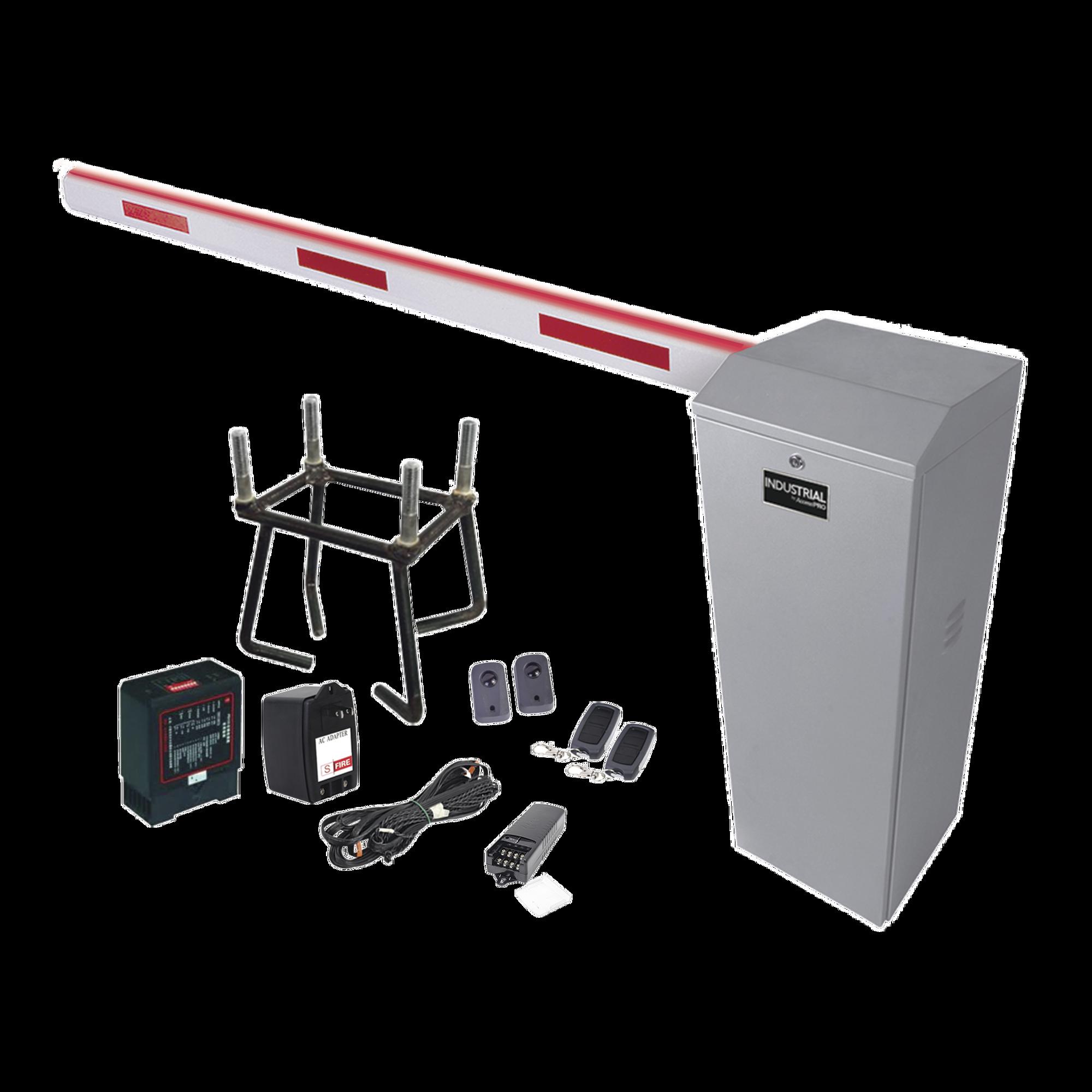 Kit COMPLETO Barrera Izquierda XB / 3M / Iluminacion LED Rojo-Verde / Incluye Sensor de masa, Transformador, Lazo, Ancla, Fotoceldas y 2 Controles Inalámbricos