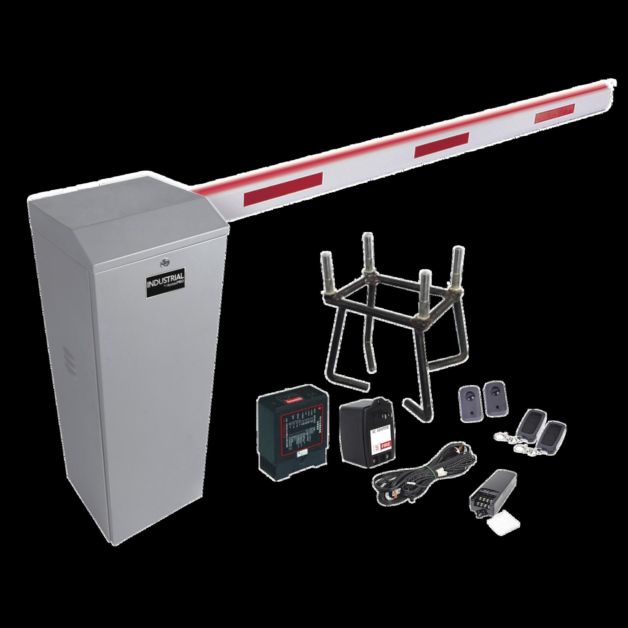 Kit COMPLETO Barrera Derecha XB / 3M / Iluminacion LED Rojo-Verde / Incluye Sensor de masa, Transformador, Lazo, Ancla, Fotoceldas y 2 Controles Inalámbricos