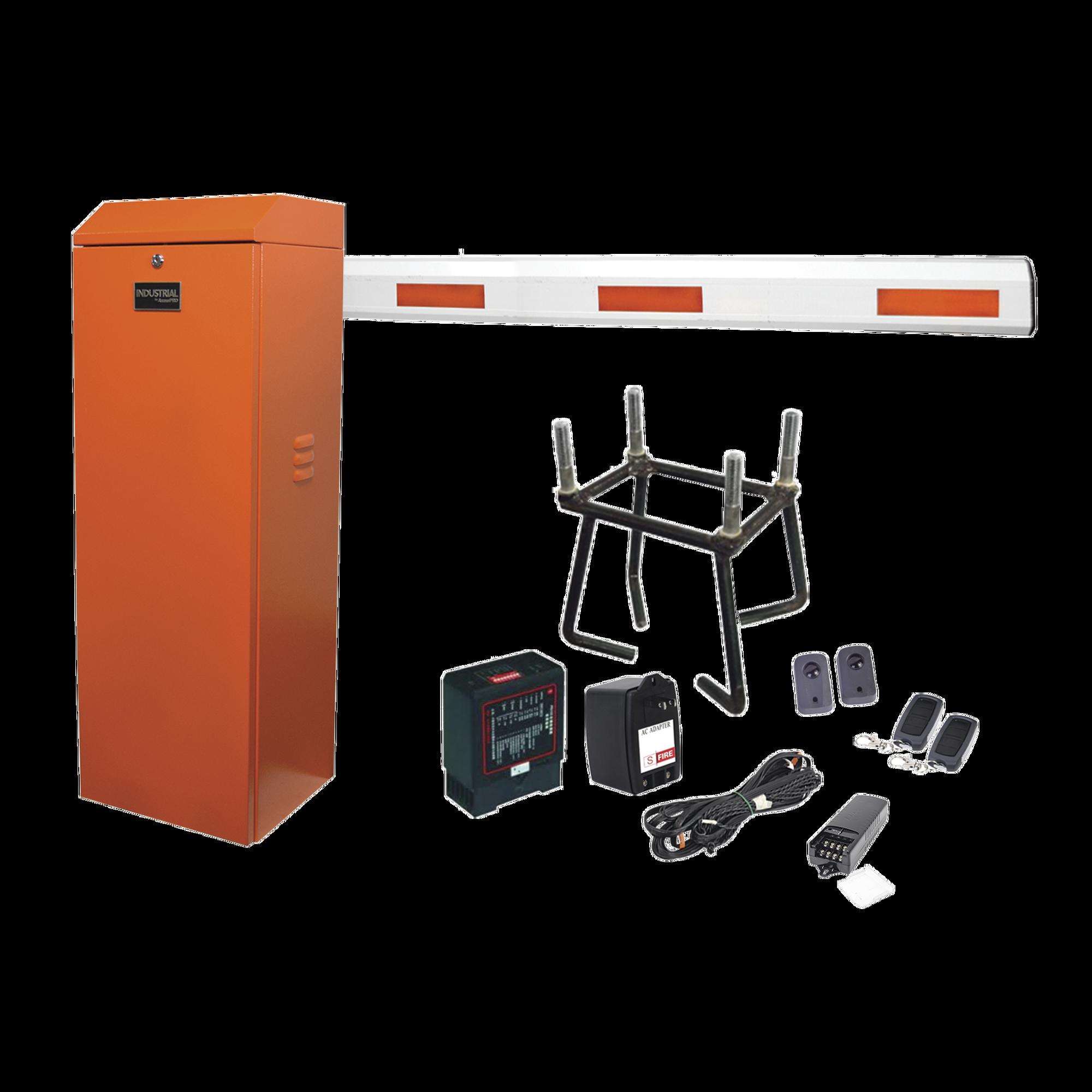Kit COMPLETO Barrera Derecha XB ANARANJADA / 3M / Incluye Sensor de masa, Transformador, Lazo, Ancla, Fotoceldas y 2 Controles Inalámbricos