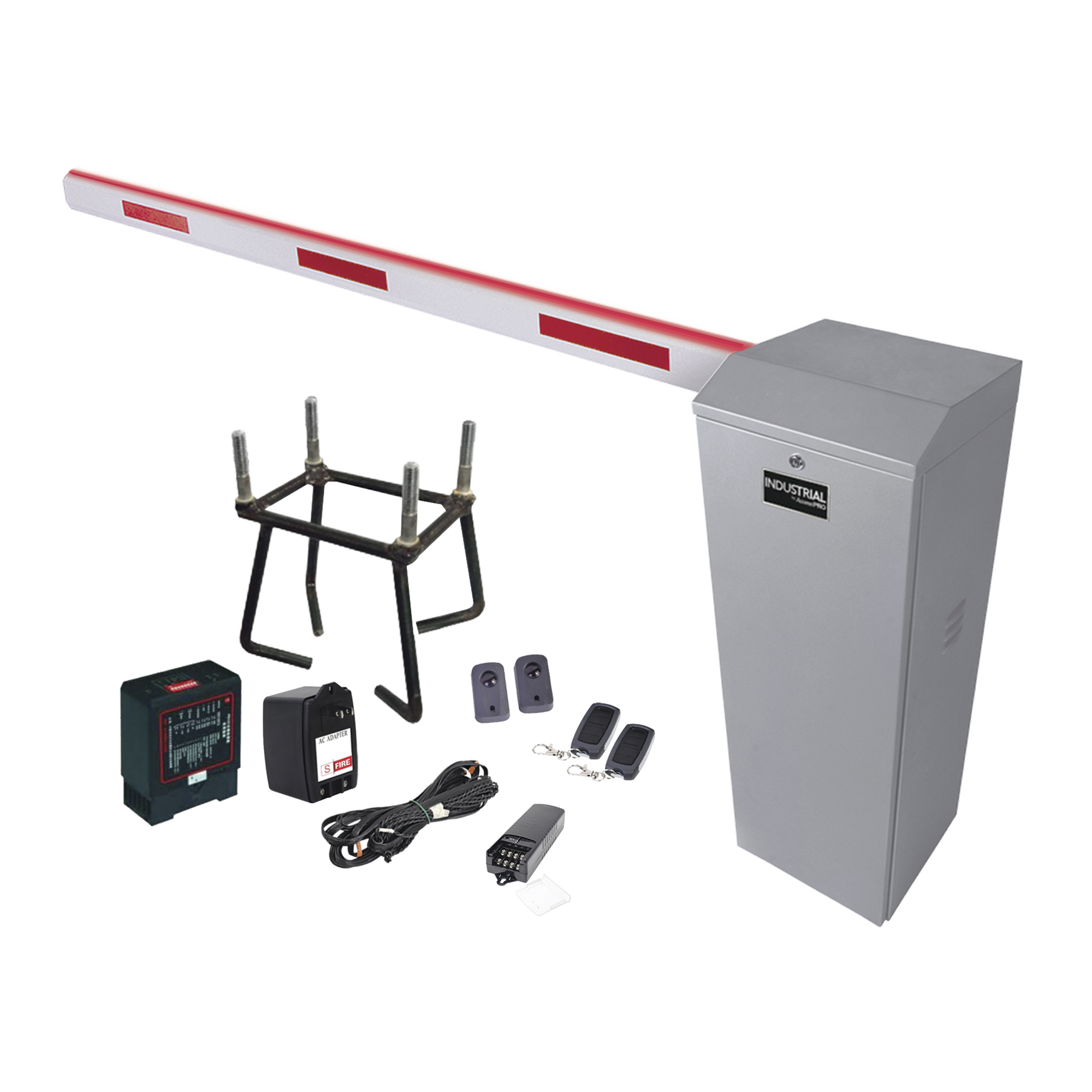 Kit COMPLETO Barrera Izquierda XB  / 5M / Iluminación LED Rojo-Verde / Incluye Sensor de masa, Transformador, Lazo, Ancla, Fotoceldas y 2 Controles Inalámbricos