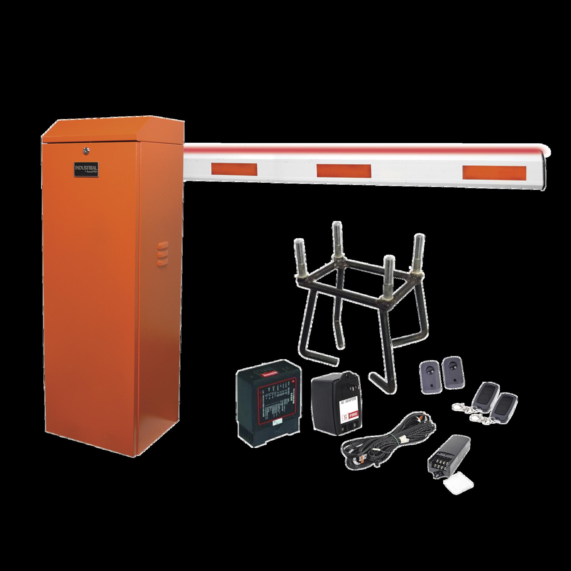 Kit COMPLETO Barrera Derecha XB ANARANJADA / 5M / Inluminacion LED Rojo-Verde / Incluye Sensor de masa, Transformador, Lazo, Ancla, Fotoceldas 2 Controles Inalambricos