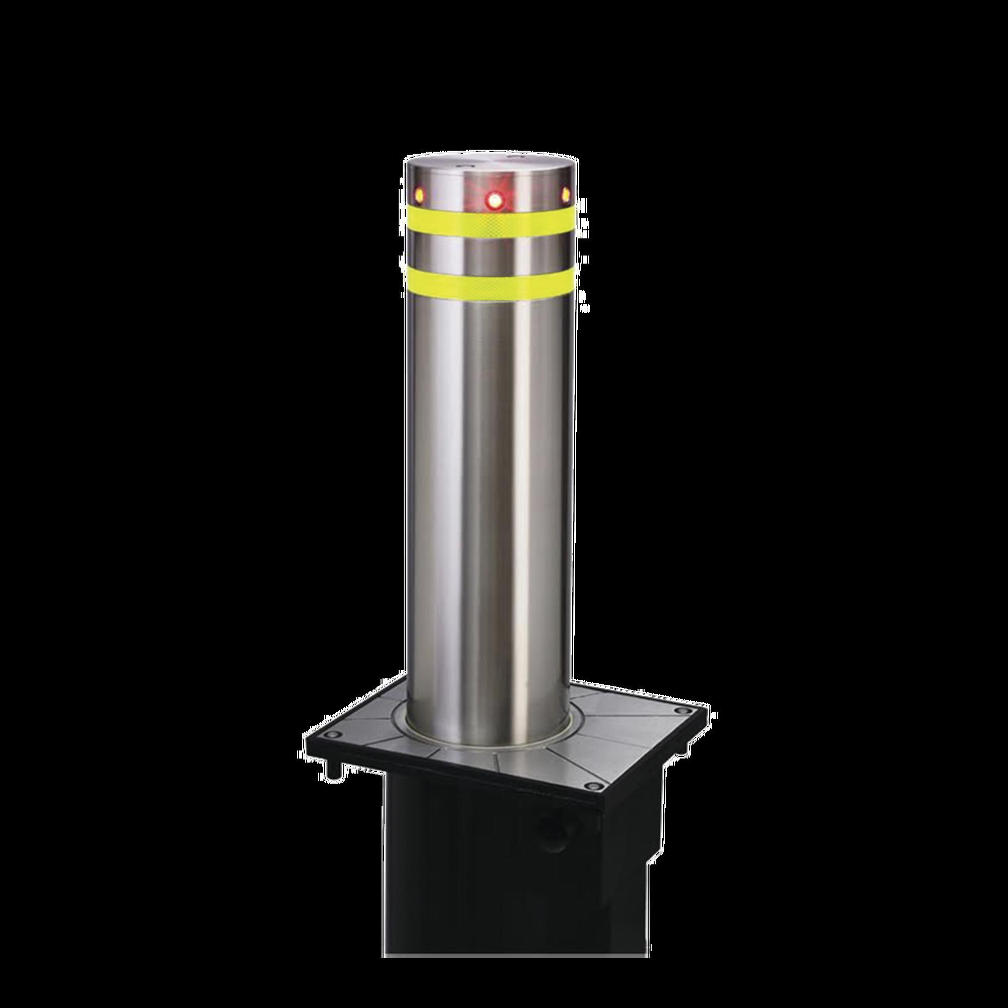 Bolardo neumatico de acero inoxidable / 220 mm de diametro / 750 mm de altura / acabado elegante con iluminacion led color rojo