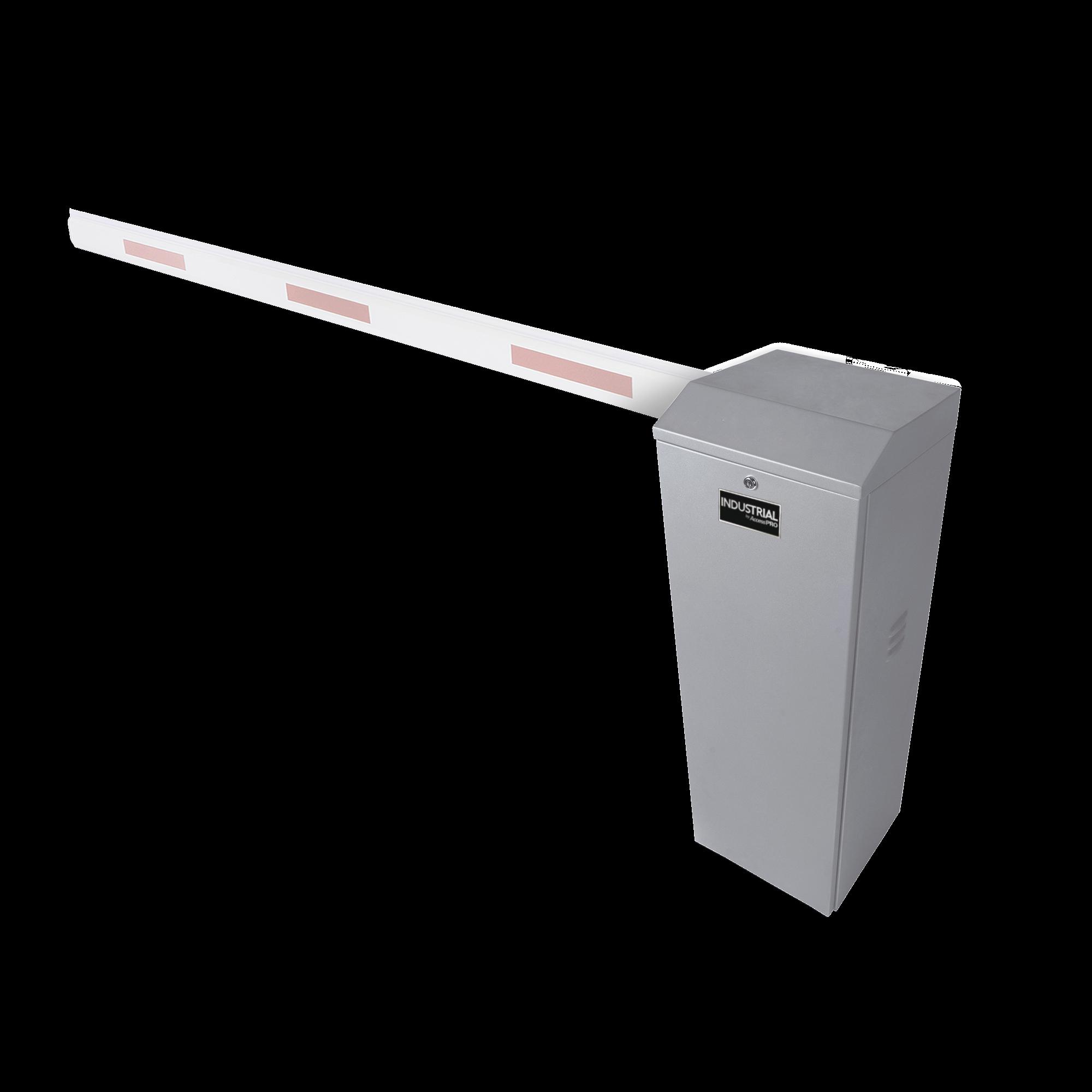Barrera vehicular izquierda / Soporta brazo de hasta 3 m / Apertura en 1.5 s /Final de carrera ajustable por programación / Movimiento fluido / Diseño elegante color gris