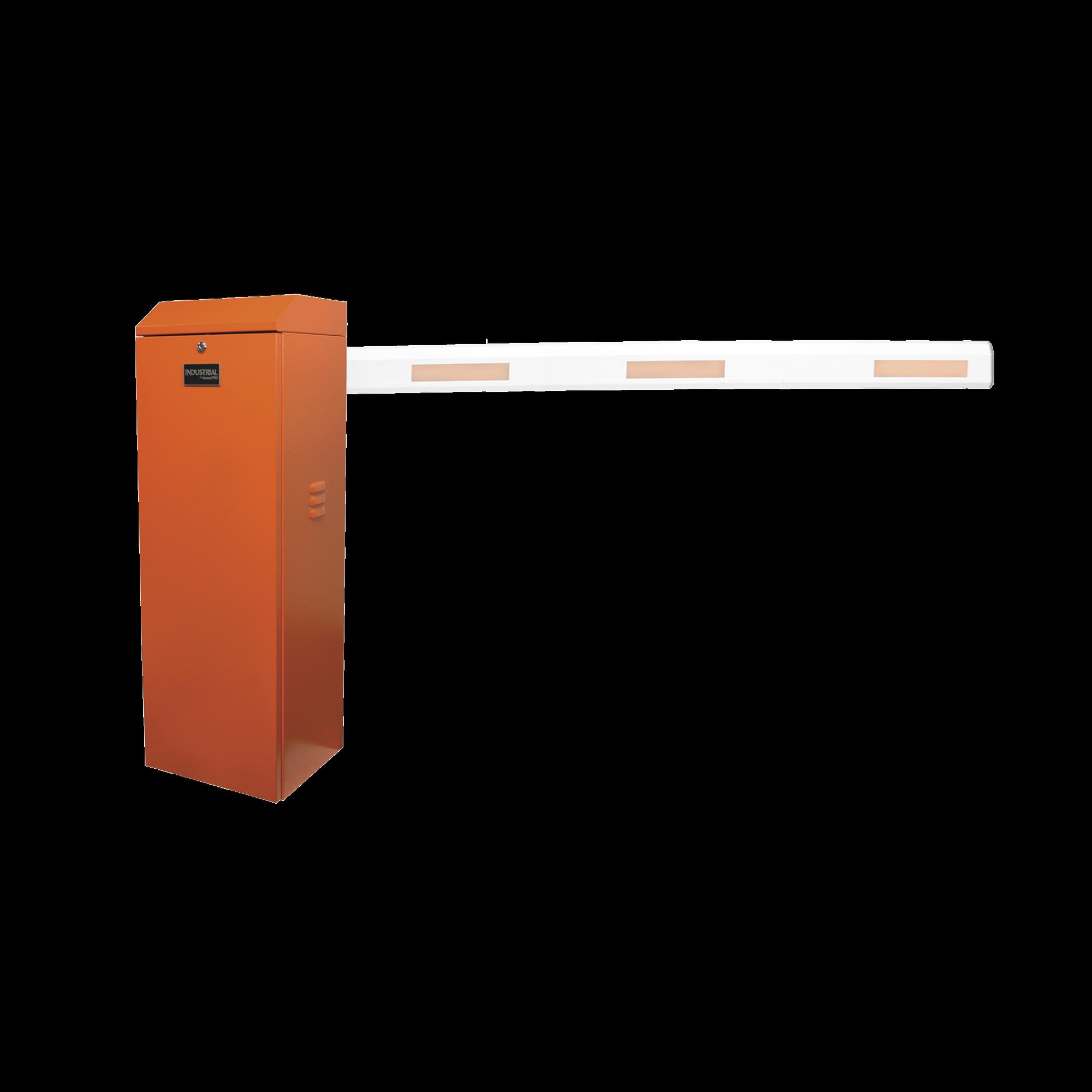 Barrera vehicular derecha / Soporta brazo de hasta 3 m / Apertura en 1.5 s /Final de carrera ajustable por programación / Movimiento fluido / Diseño elegante color naranja