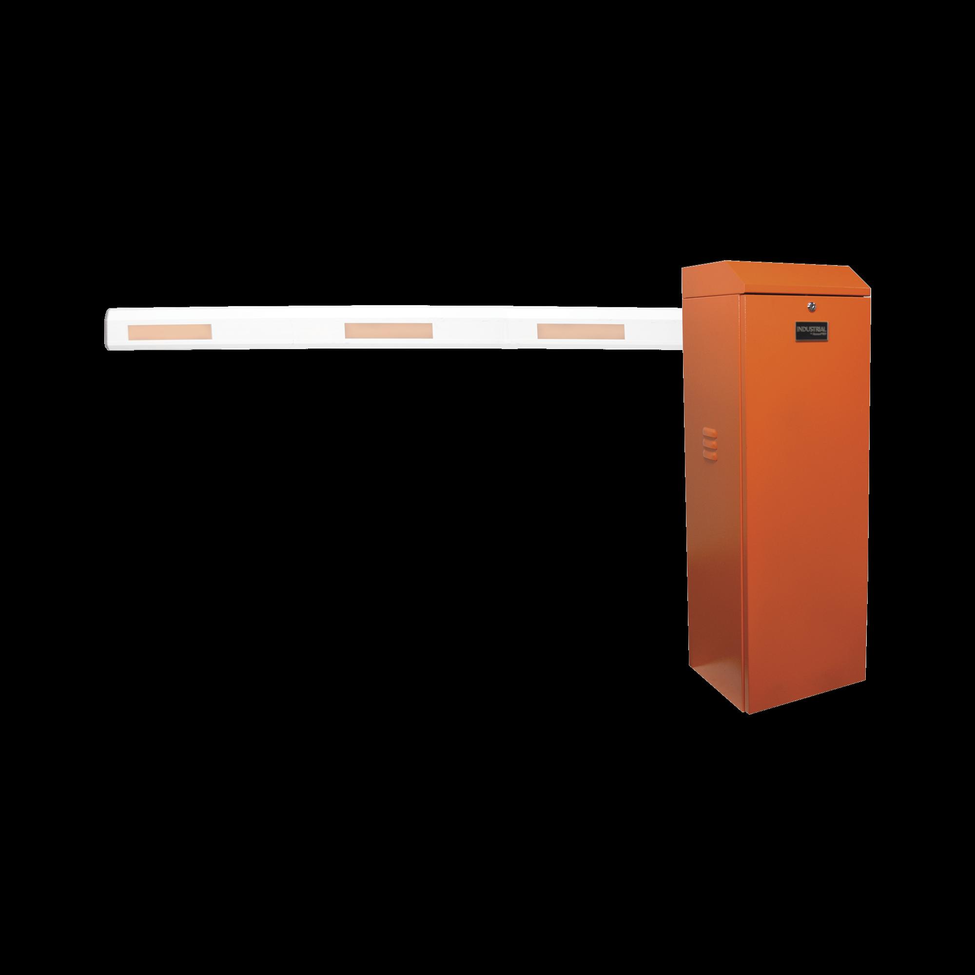 Barrera vehicular izquierda / Soporta brazo de hasta 5.5 m / Final de carrera ajustable por programación / Movimiento fluido / Diseño elegante color naranja