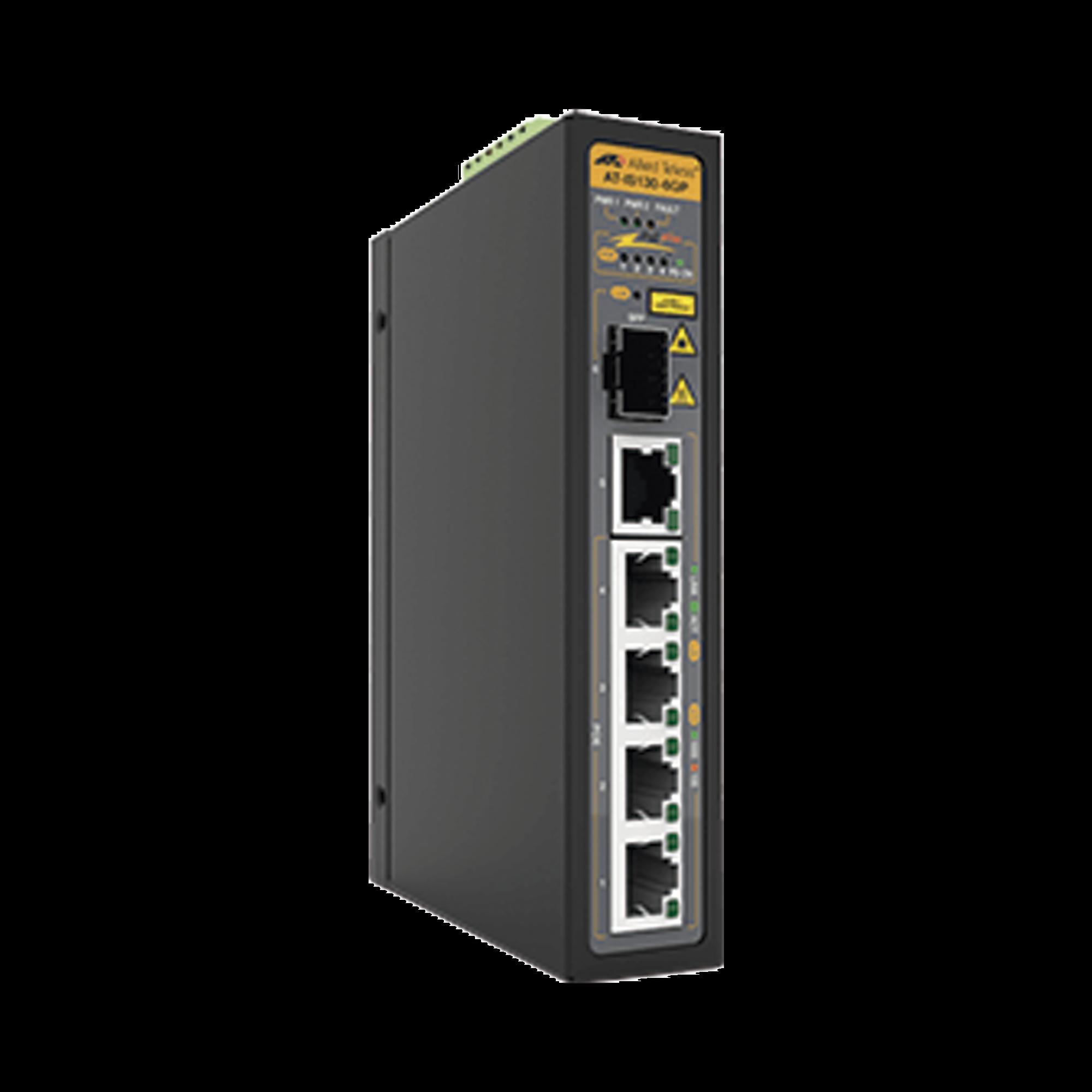 Switch Industrial PoE+ no administrable de 5 Puertos 10/100/1000 Mbps (4 Puertos son PoE+) + 1 puertos SFP, 90 W