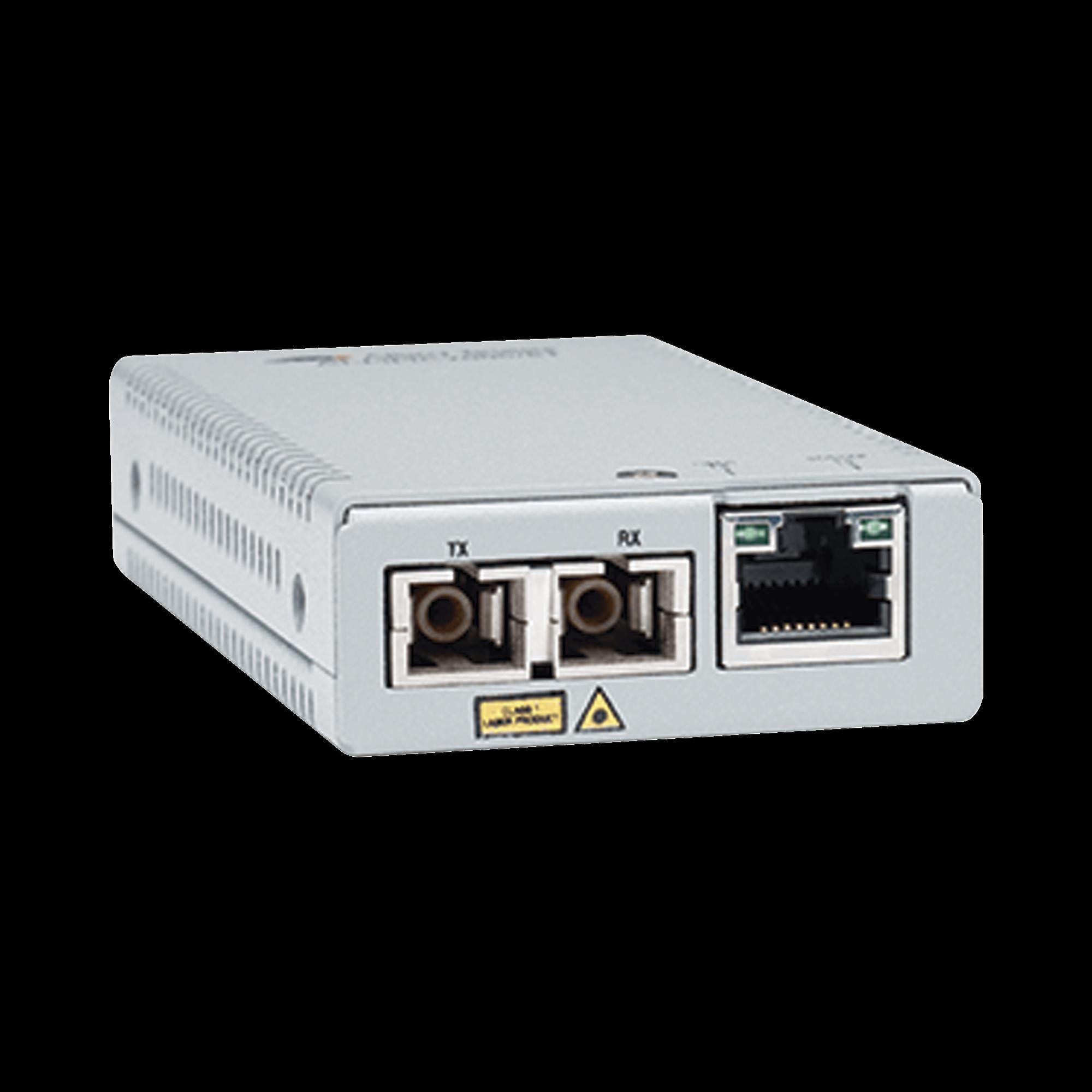 Convertidor de medios gigabit ethernet a fibra óptica, conector SC, multimodo (MMF), distancia de 220 hasta 500 m, con fuente de alimentación multi-región