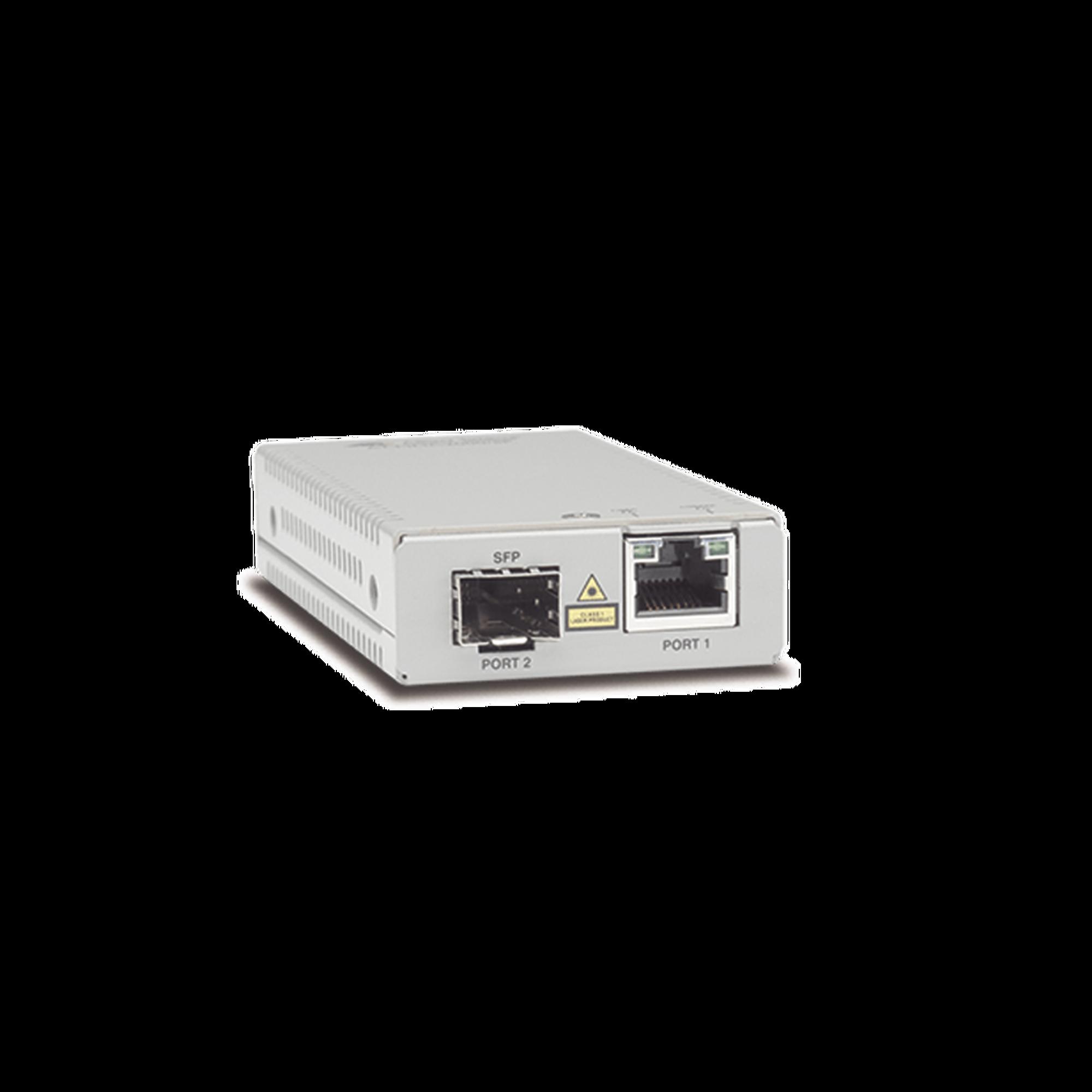 Convertidor de medios gigabit ethernet a fibra óptica con puerto SFP (la distancia y tipo de fibra óptica depende del transceptor), con fuente de alimentación multi-región