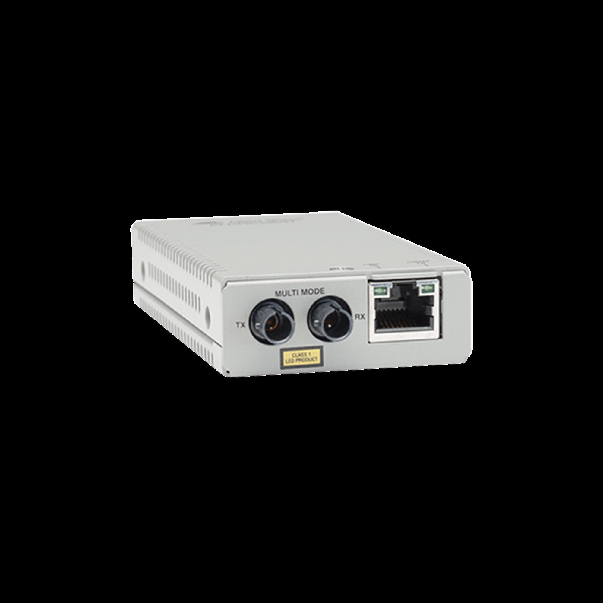Convertidor de medios fast ethernet a fibra óptica, conector ST, multimodo (MMF), distancia hasta 2 km