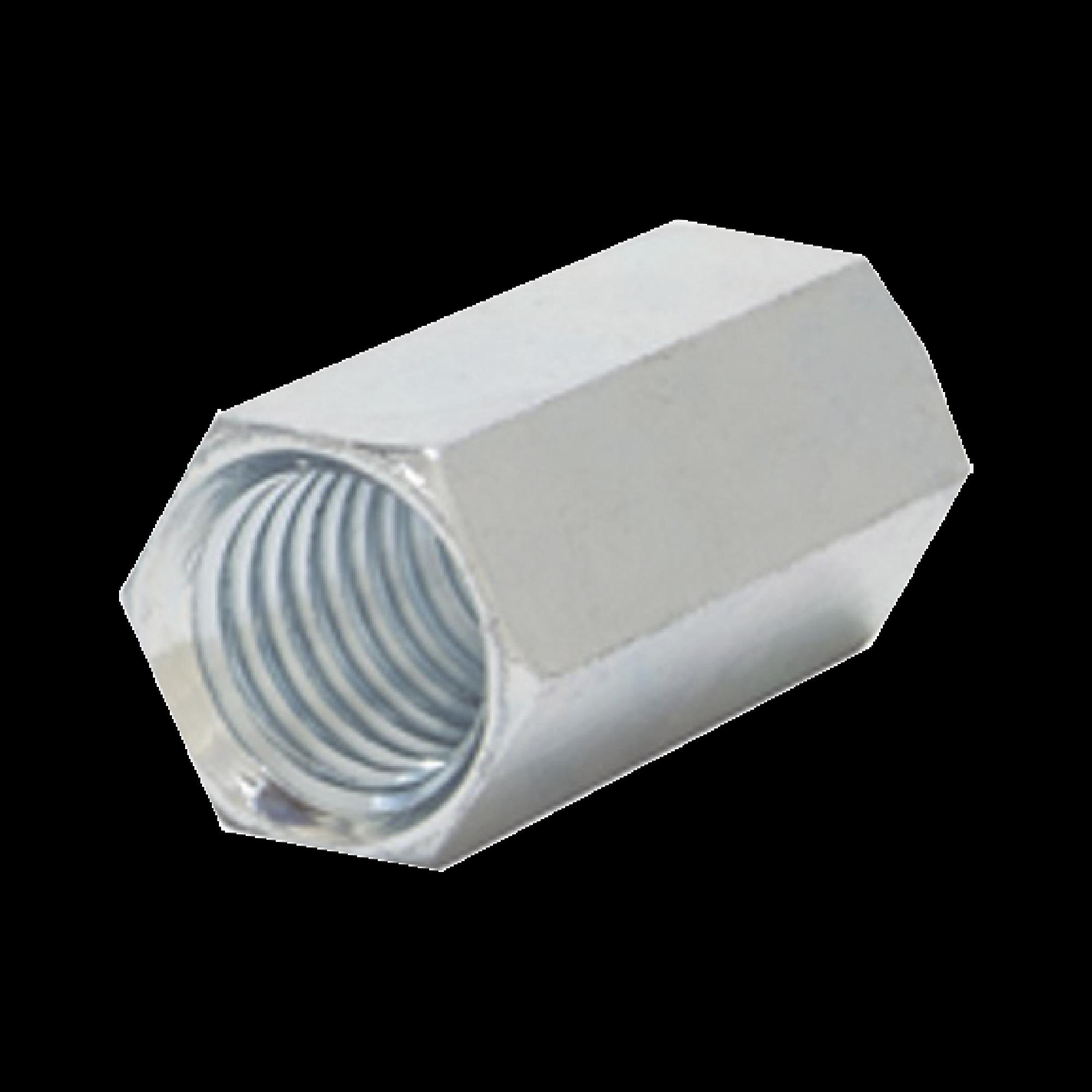 Cople hexagonal roscado cuerda maquina galvanizado de 6.5 mm (1/4)