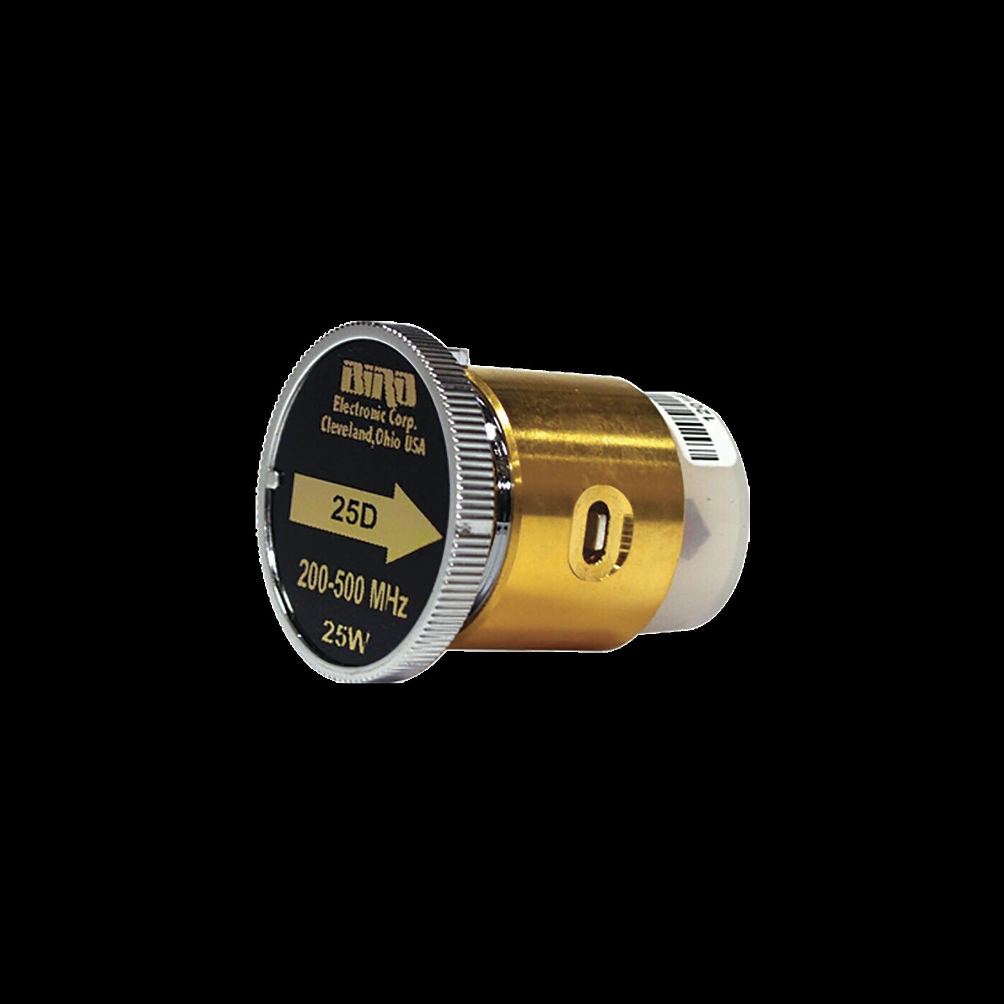 Elemento de 25 Watt en linea 7/8 para Wattmetro BIRD 43 en Rango de Frecuencia de 200 a 500 MHz.