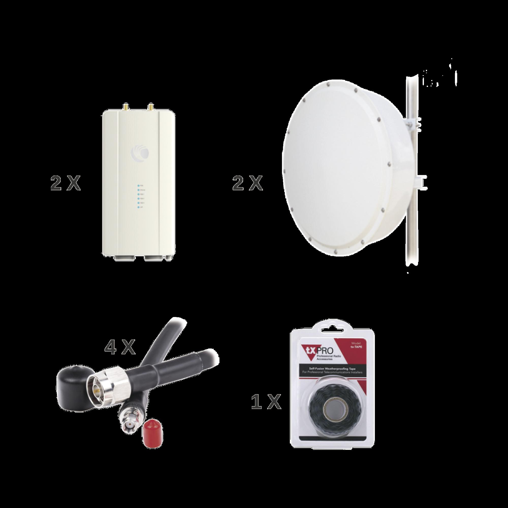 Enlace completo de 2 radios FORCE400C con antenas TXP-4965-30PB2-KIT (30 dBi), rango de frecuencia extendida (4.9 a 6.2 GHz)