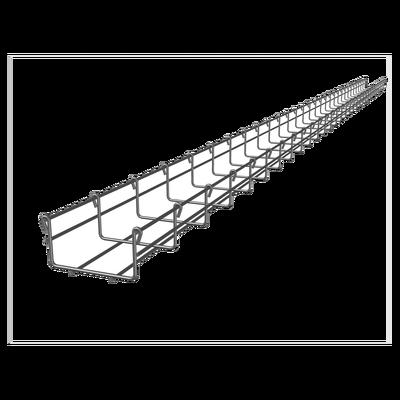 Charola tipo malla 54/100 mm, con acabado Electro Zinc, hasta 86 cables Cat6, tramo 3 m