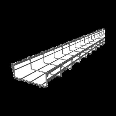 Charola tipo malla 54/150 mm, con acabado Electro Zinc, hasta 129 cables Cat6, tramo 3 m
