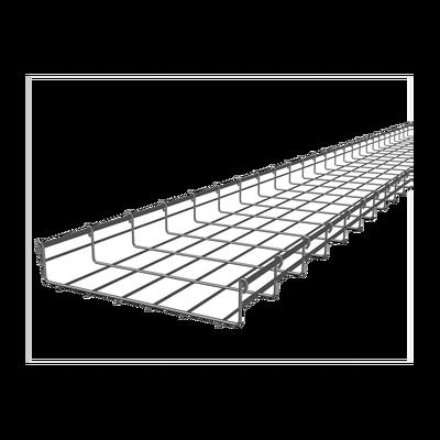 Charola tipo malla  54/300 mm, con acabado Electro Zinc, hasta 258 cables Cat6, tramo 3 m