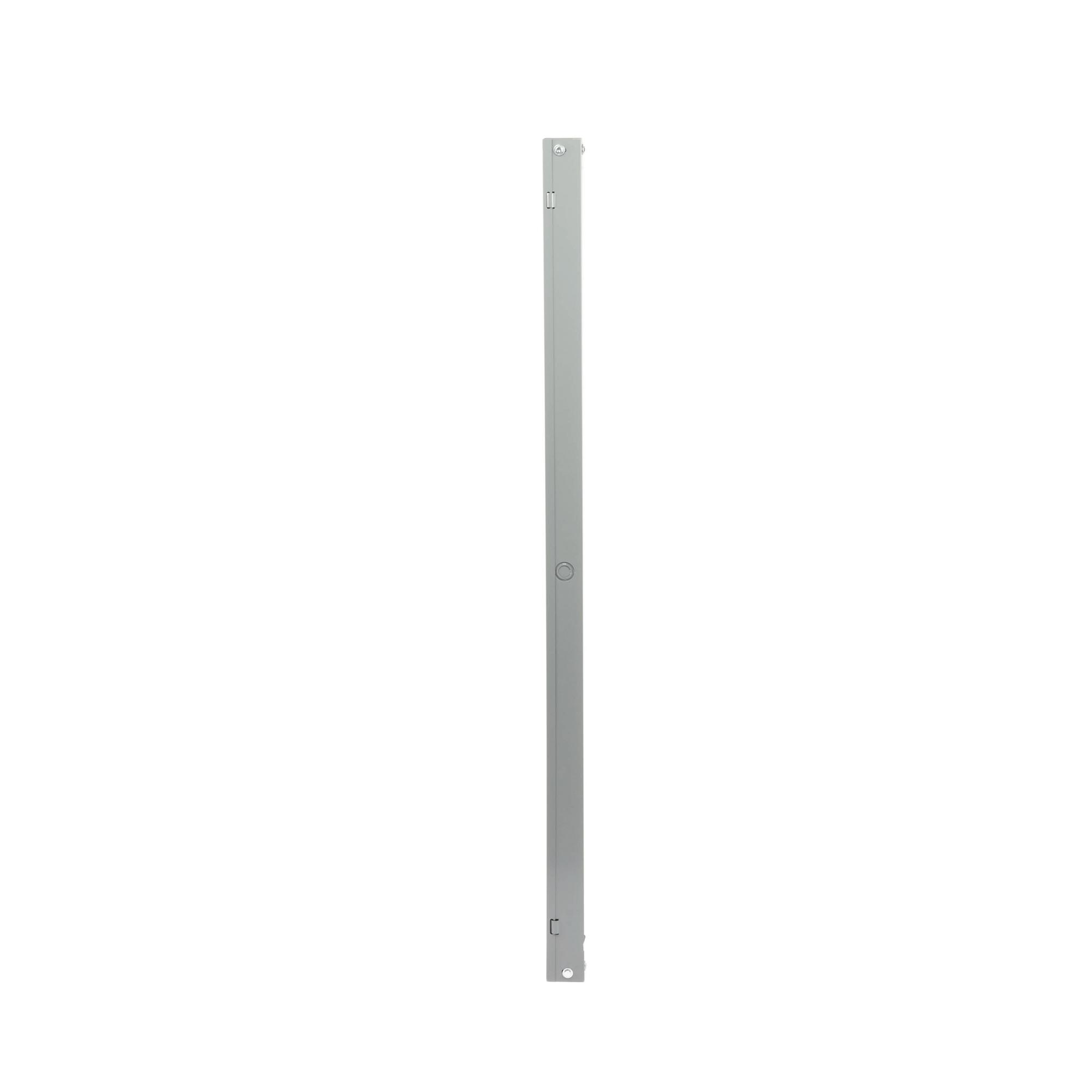 Ducto cuadrado embisagrado 6.5 x 6.5 cm, fabricado en lámina de acero al carbón, hasta 67 cables Cat6,  incluye cople con tornillería y 1 knock out por lado