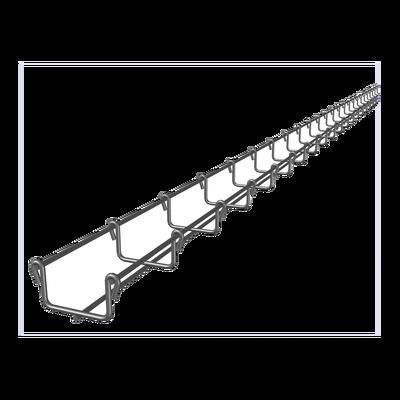Charola tipo malla 33/50 mm, con acabado Electro Zinc, hasta 26 cables Cat6, tramo 3 m