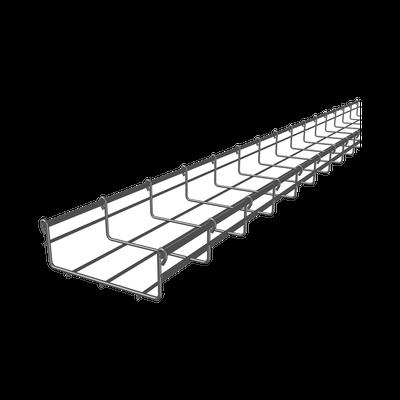 Charola tipo malla 66/150 mm, con acabado Electro Zinc, hasta 157 cables Cat6,  tramo 3 m