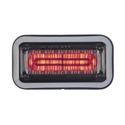 Luz d/advertencia Prizm II con bisel 7x3 in lente claro LED color rojo