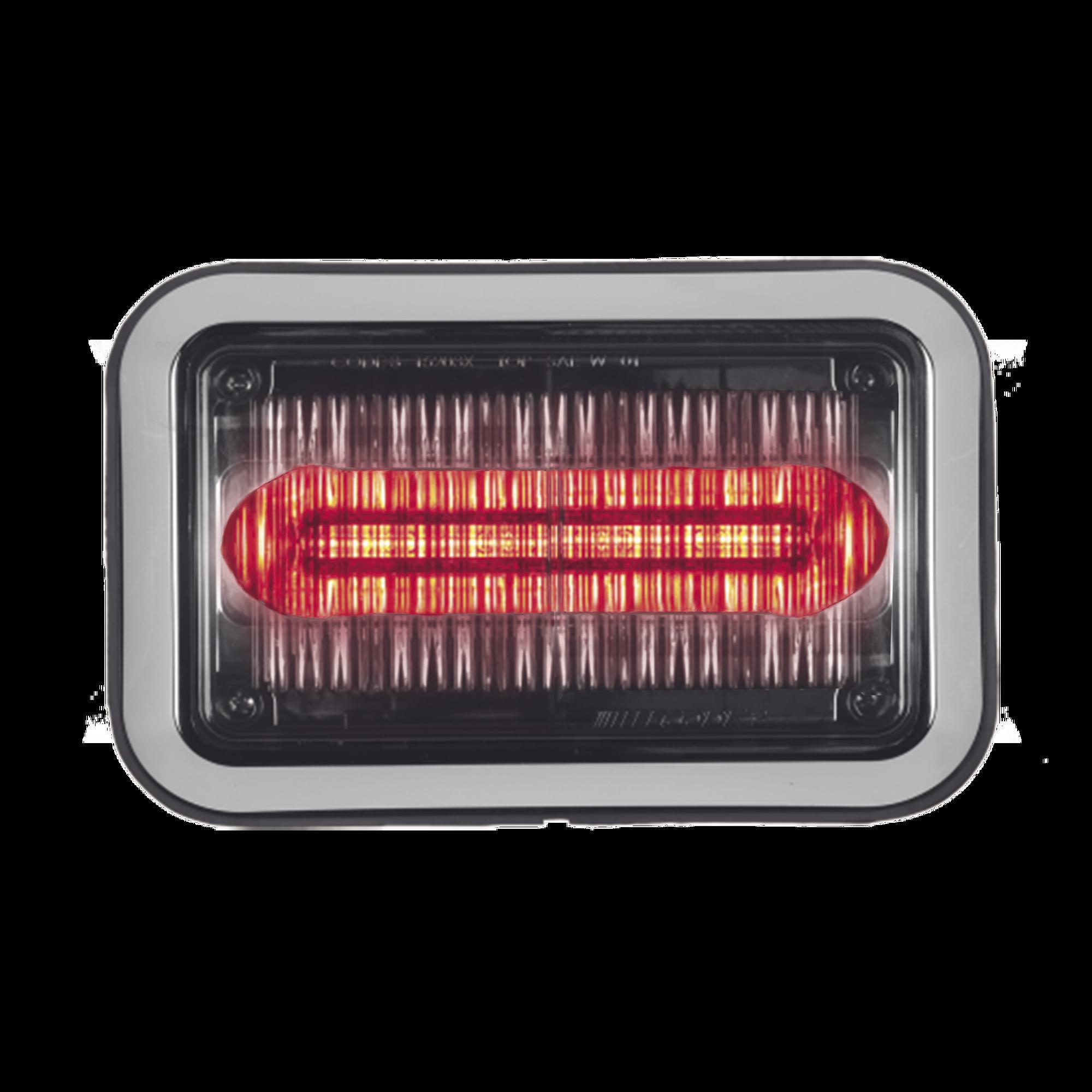 Luz perimetral LED PriZm ? II de 4x6 con bisel, lente transparente y color REF8, rojo