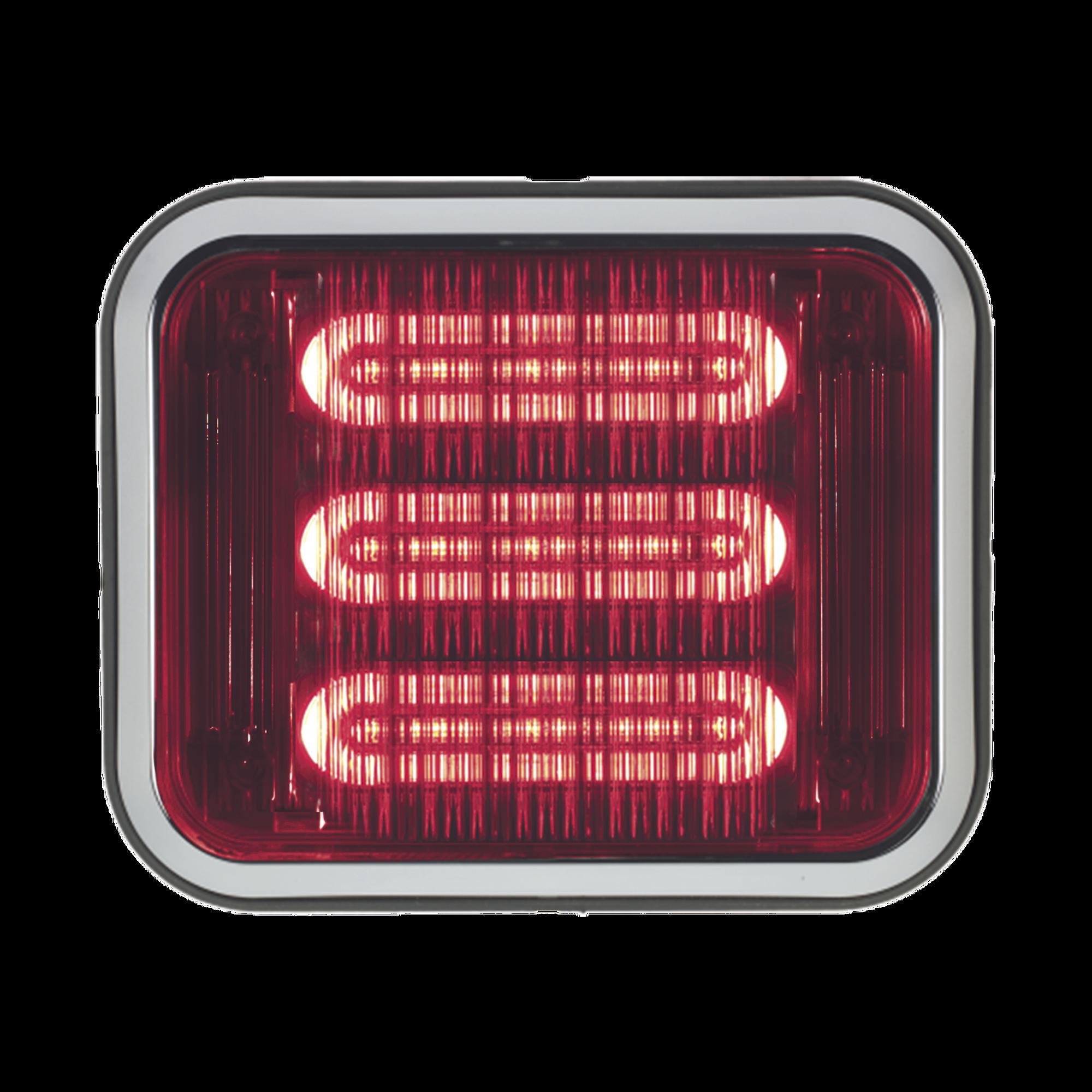 Luz perimetral LED PriZm ? II de 7x9 con bisel, lente y LED de color rojo