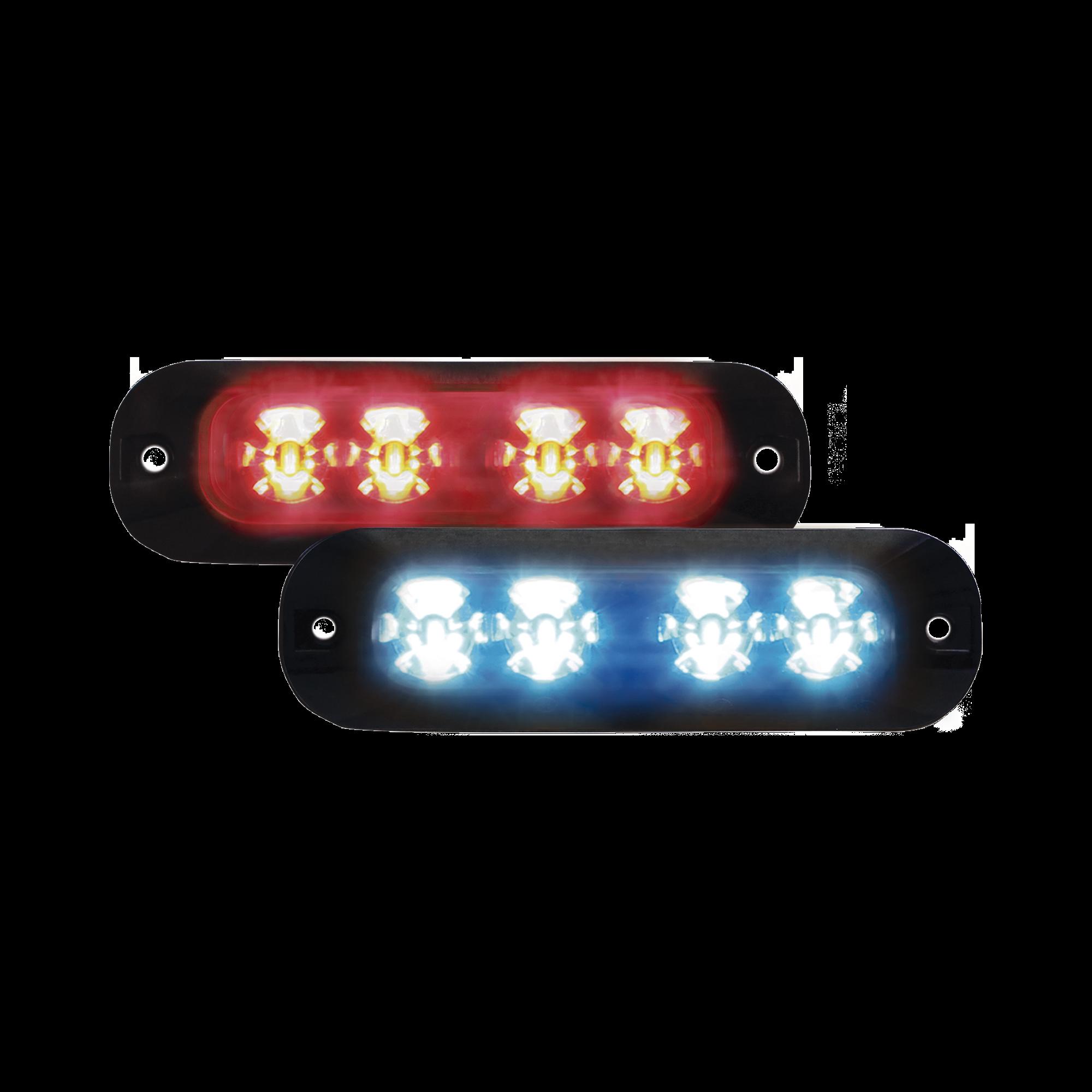 Luz auxiliar con 4 LEDs color rojo-azul