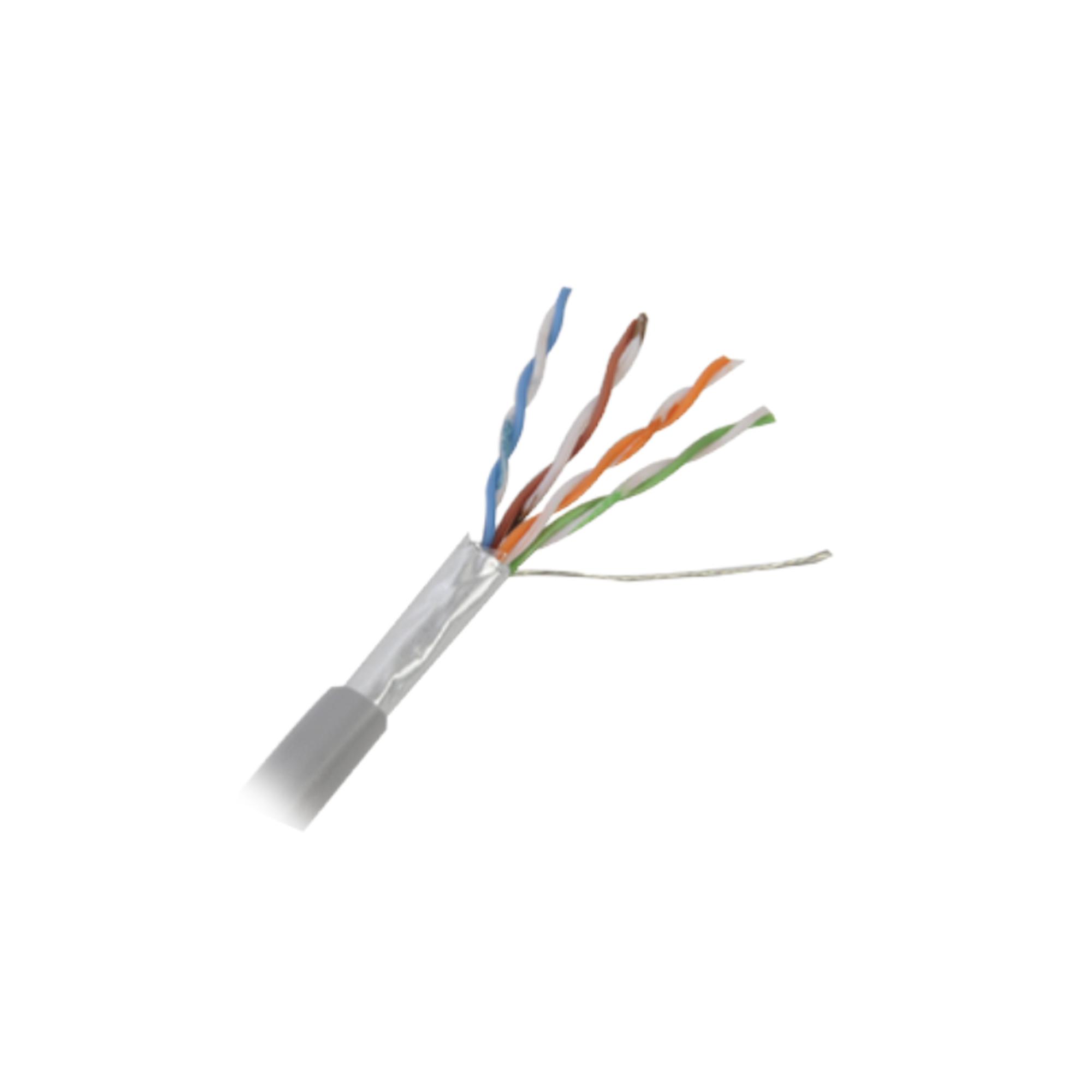Retazo de 10 mts de Cable Cat5e FTP, ESCUT, UL, CMR, color Gris, para aplicaciones en CCTV y redes de datos. Uso en intemperie