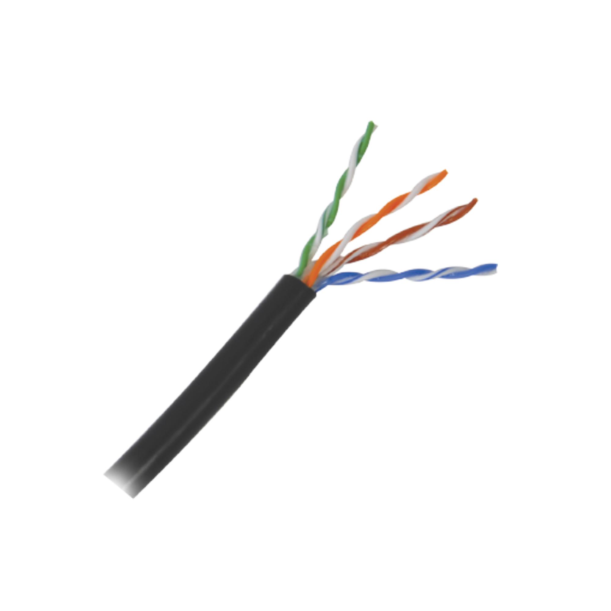 1 metro de cable Cat5e con gel para exterior, color Negro, para aplicaciones en sistemas de redes de datos y cableado estructurado.Uso intemperie.