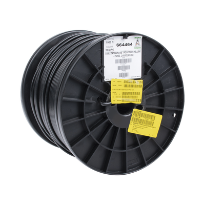 Bobina de 1000 ft ( 305 m ) Cat5e con gel para exterior, color Negro, para aplicaciones en sistemas de redes de datos y cableado estructurado.Uso intemperie.