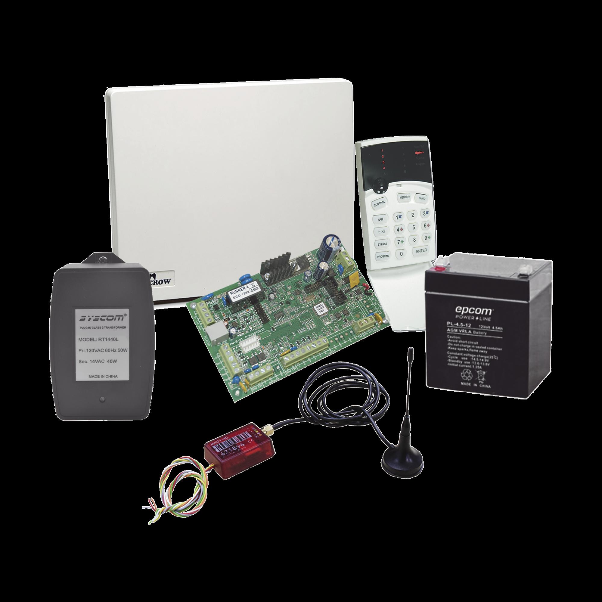 Kit de Alarma RUNNER8/16 con Comunicador MN02LTEM, Gabinete, Batería y Trasmformador