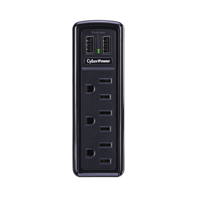 Multicontacto con Supresor de Picos de Pared, Voltaje de Entrada 125 Vca NEMA 5-15P,  Con 3 Salidas NEMA 5-15R, 2 Puertos de Carga USB, 918 Joules