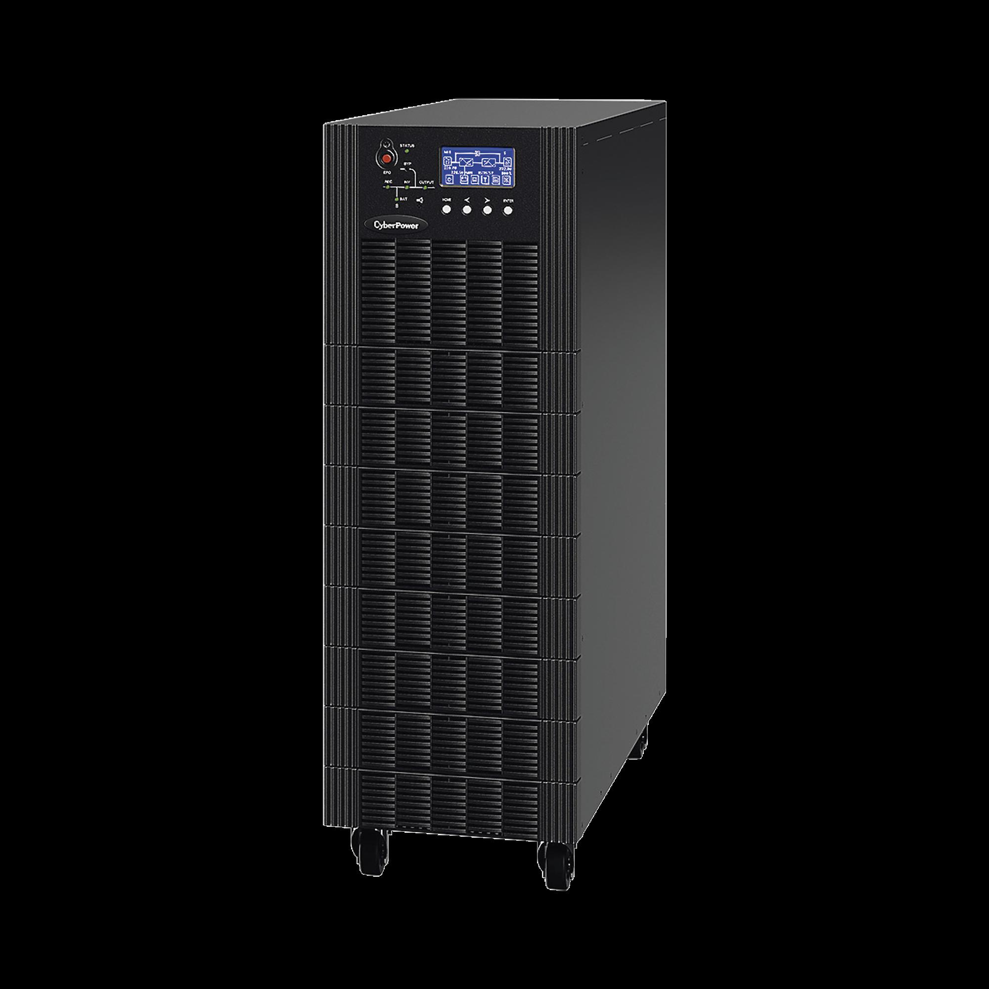 UPS Trifásico de 20 kVA/18 kW , Topología Online Doble Conversión, Voltaje de 208/220 Vca de L-L, Respaldo de 5 Minutos al 100% de Carga, Incluye Módulo y Banco de Baterías