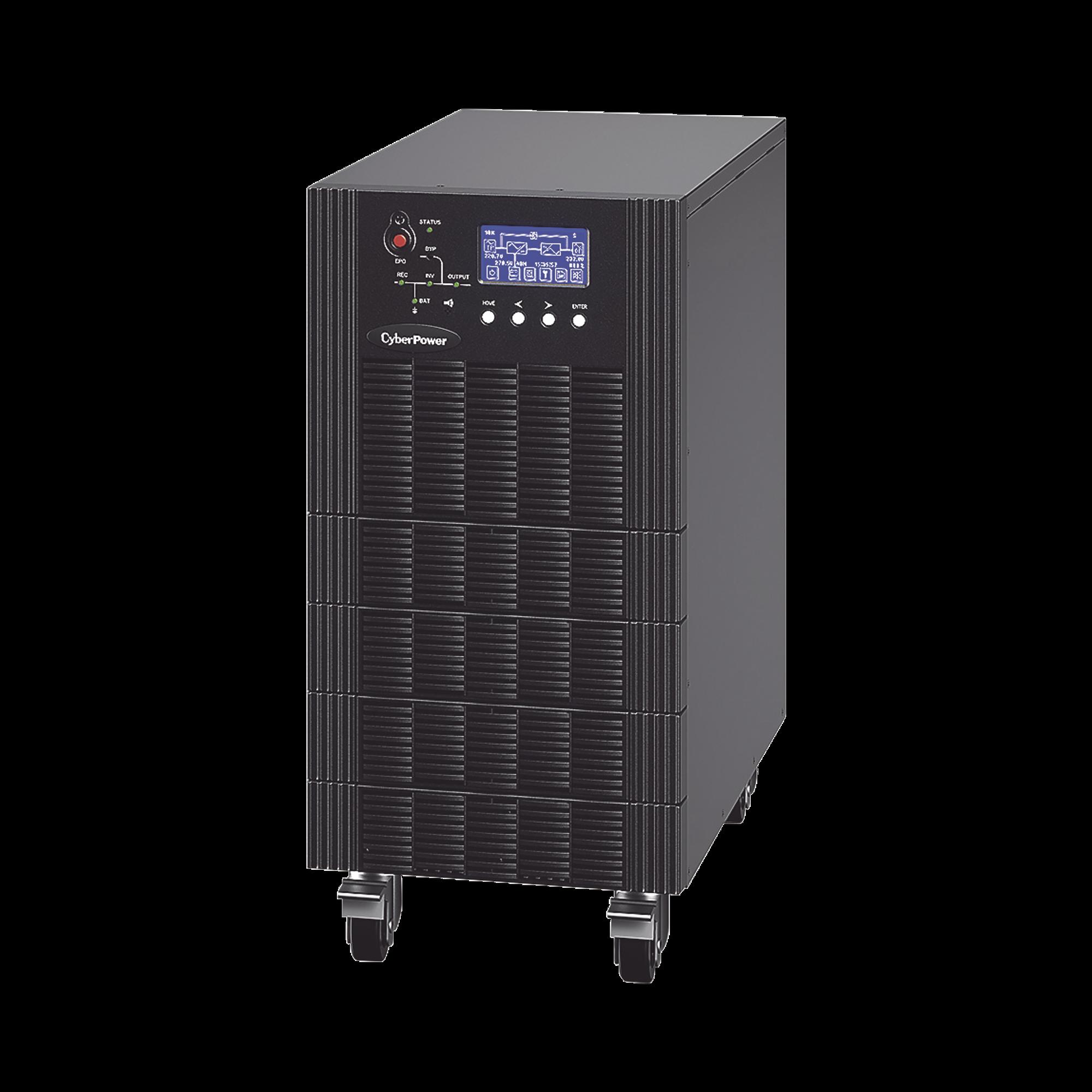 UPS Trifásico de 10 kVA/10 kW, Topología Online Doble Conversión, Voltaje de 208/220 Vca de L-L, Respaldo de 5 Minutos al 100% de Carga, Incluye Módulo y Banco de Baterías