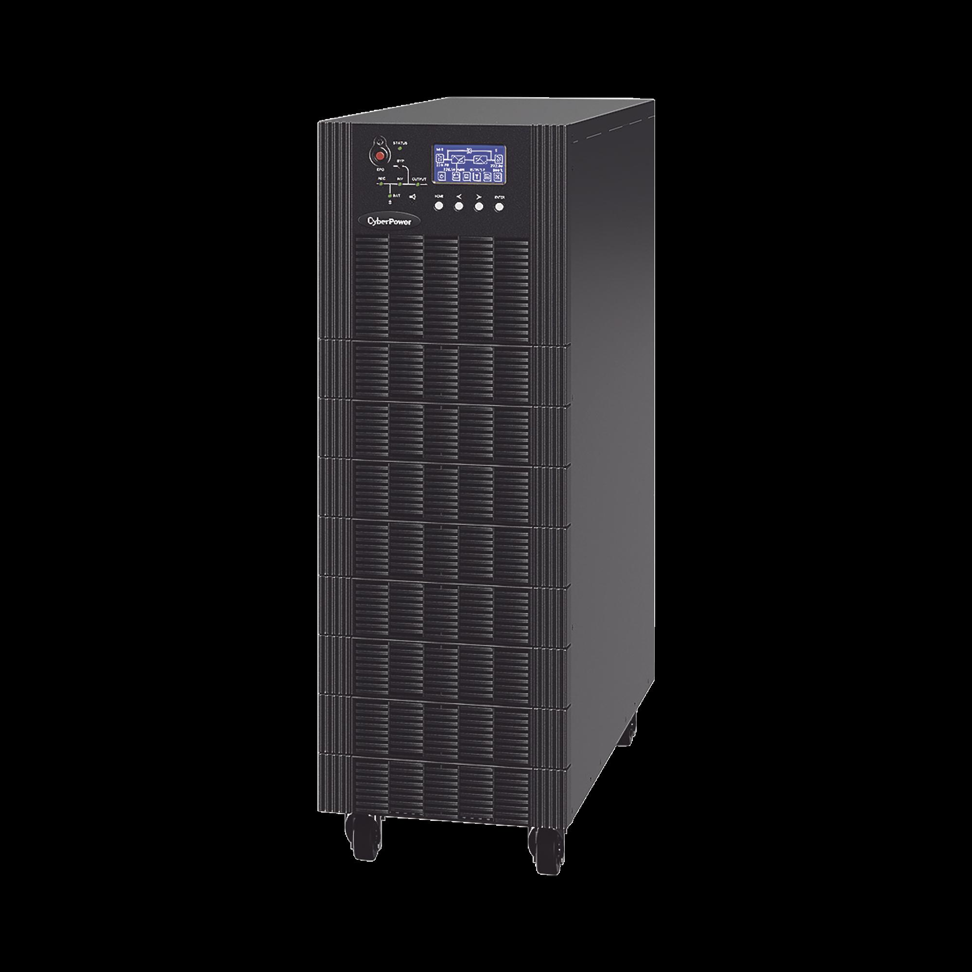 UPS Trifásico de 20 kVA/18 kW, Topología Online Doble Conversión, Voltaje de 208/220 Vca de L-L, Respaldo de 5 Minutos al 100% de Carga, Incluye Módulo y Banco de Baterías