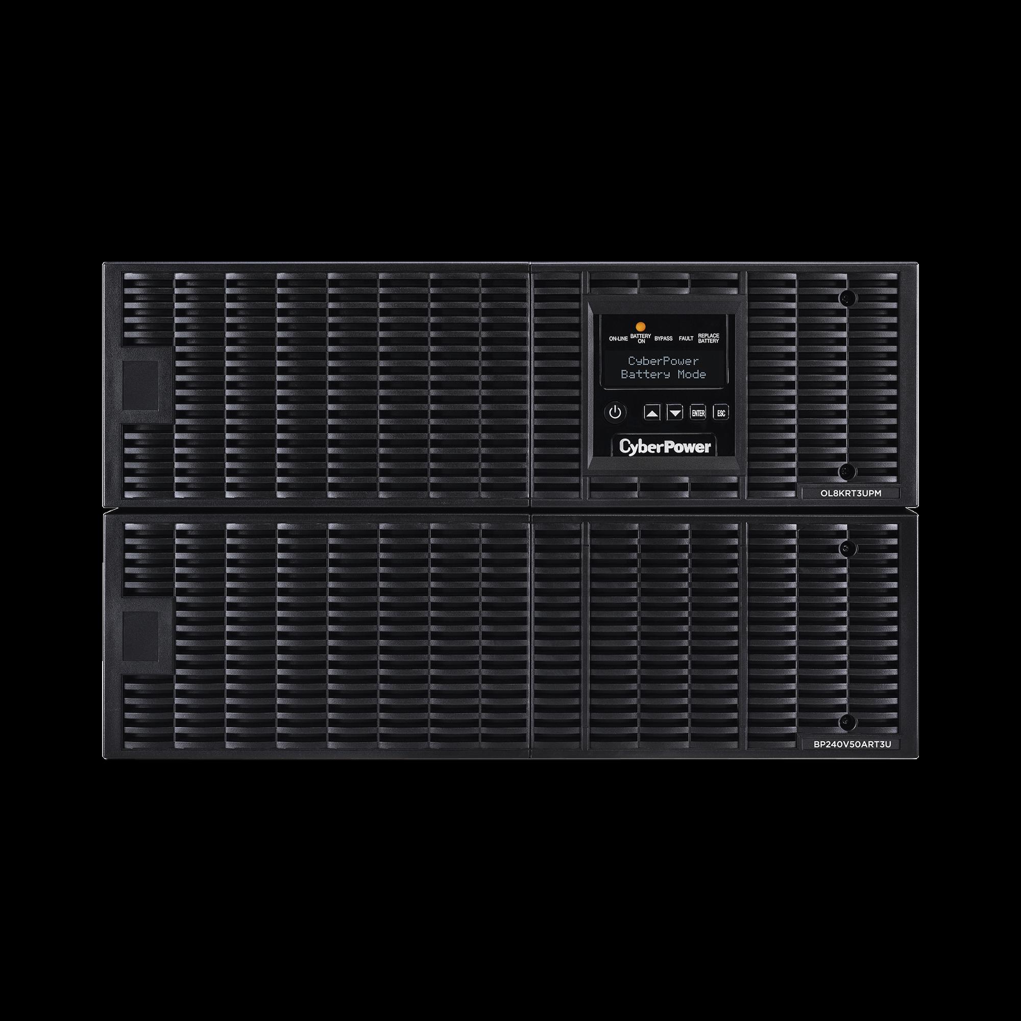 UPS de 8000 VA/ 7200 W, Online Doble Conversión, 200 - 240 Vac de Salida, Terminal Hardwired, Onda Senoidal Pura, Torre o Rack de 6 UR, Con 3 Tomas NEMA L6-30R