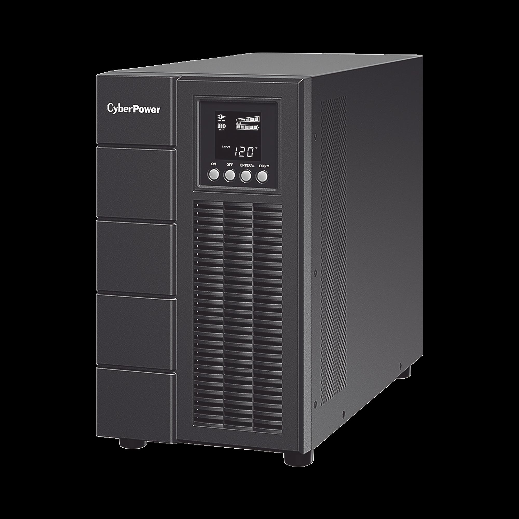 UPS de 3000 VA/2700 W, Online Doble Conversión, Entrada 120 Vca NEMA L5-30P, Onda Senoidal Pura, Tipo Torre, Con 6 Tomas NEMA 5-20R y 1 Block Hardwired
