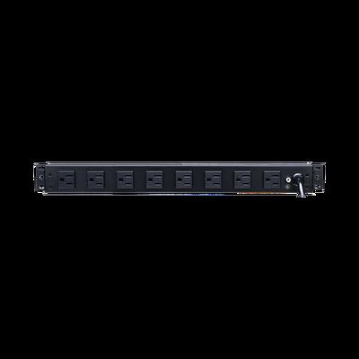 PDU Básico Para Distribución de Energía, Con 8 Tomas NEMA 5-15R Traseras y 2 Tomas 5-15R Frontales, 1UR, 15 Amp, 120 Vca