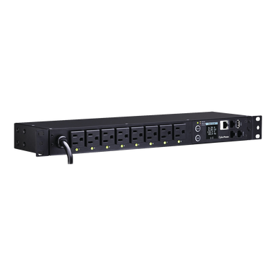 PDU Switchable por Toma, Para Distribución de Energía, Entrada 120 Vca NEMA 5-15P, Con 8 Salidas NEMA 5-15R, Horizontal 19in, 1UR