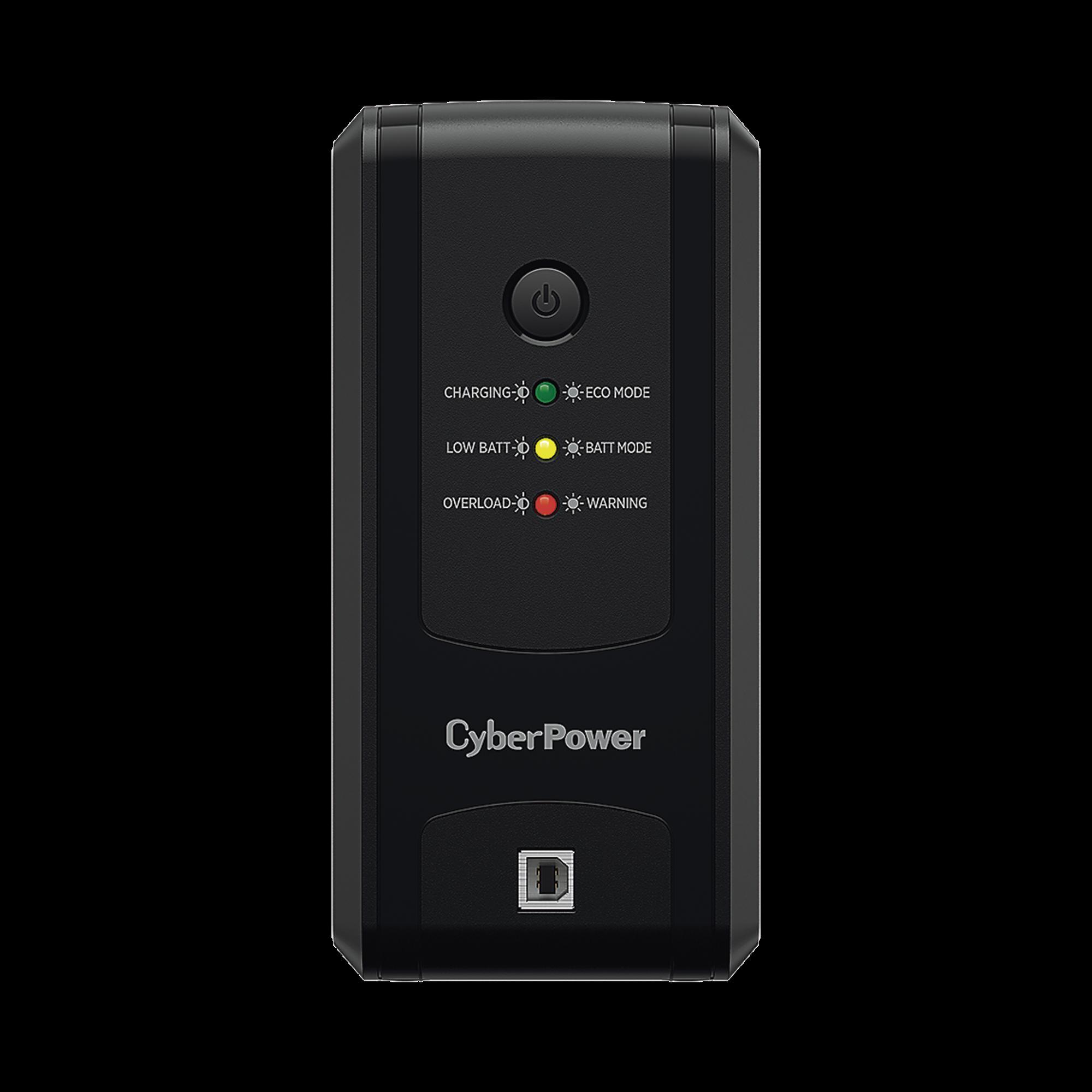 UPS de 1000 VA/500 W, Topología Línea Interactiva, Entrada 120 Vca  NEMA 5-15P, y 8 Salidas NEMA 5-15R, Puerto USB, Con Regulador de Voltaje (AVR)