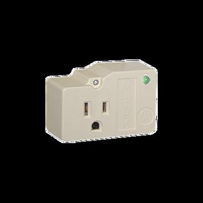 Protección para enchufe con salida única, circuito de 120 V / 15 A , tornillo de retención, corriente max 30 kA