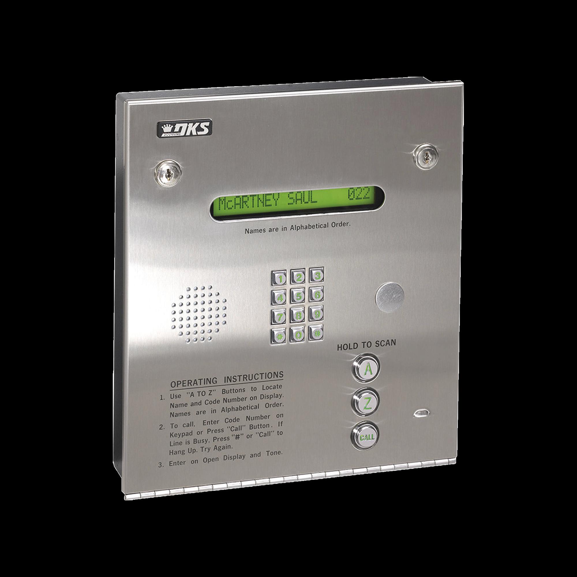 Control de acceso / Gabinete empotrable / 2 puertas / 3000 números telefónicos / 11 dígitos / Directorio en pantalla / Lineas A/D