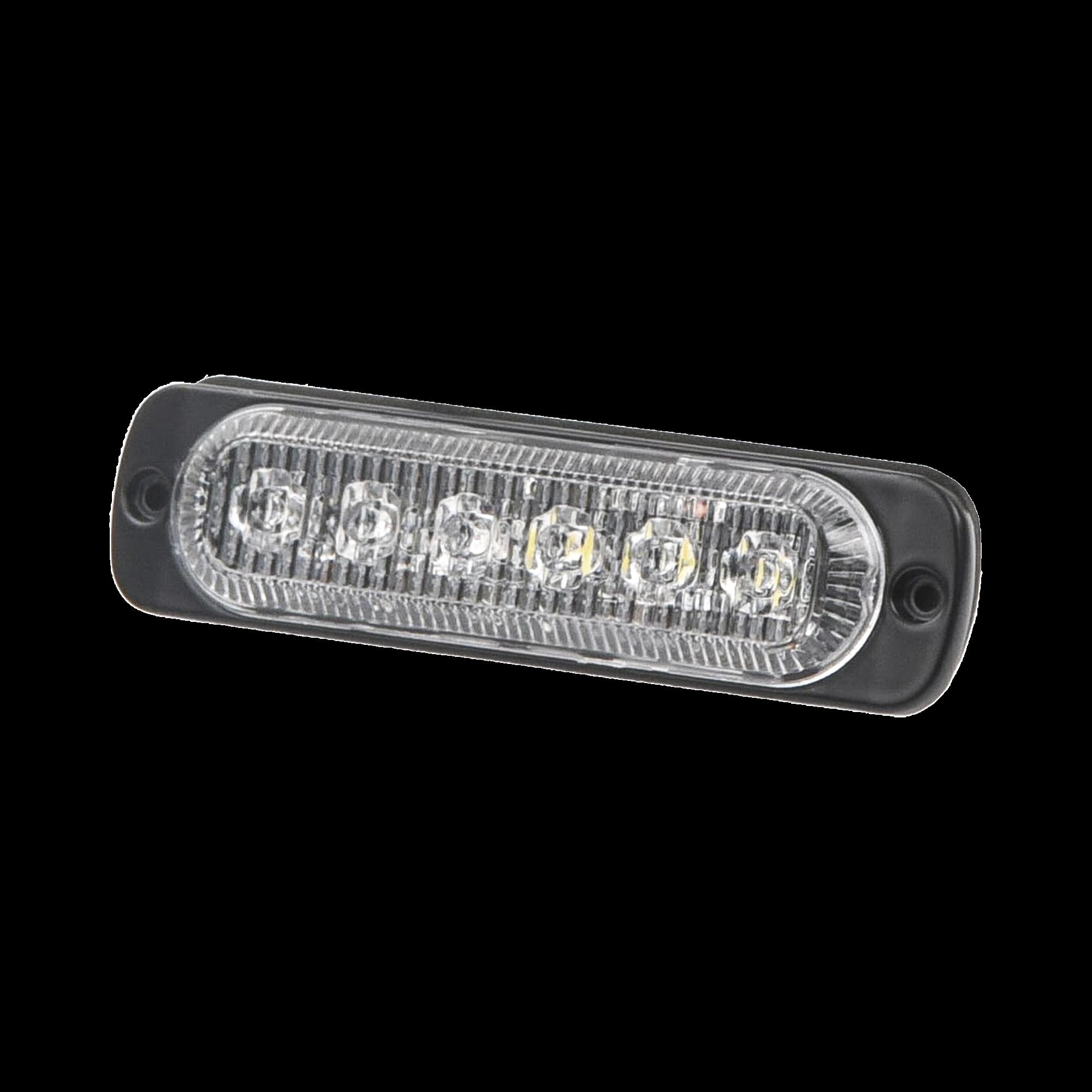 Luz direccional con 6 LEDS, color ambar/claro, 12-24 VCD